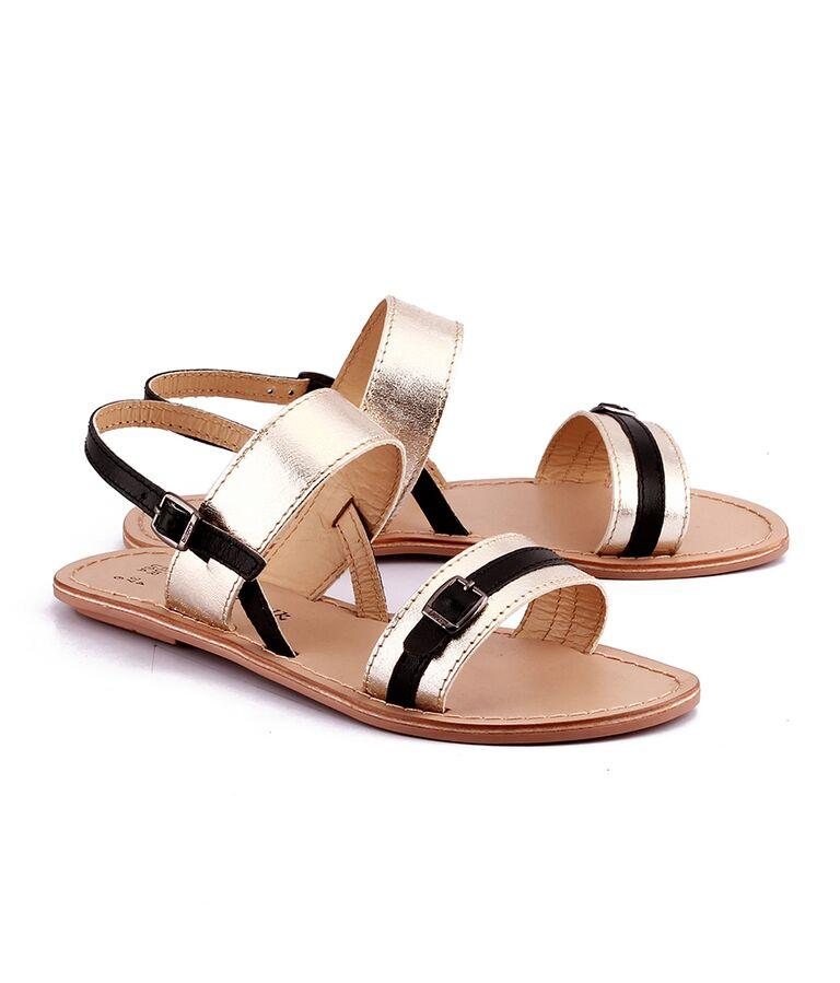 Gold Color Genuine Leather Sole Sandals
