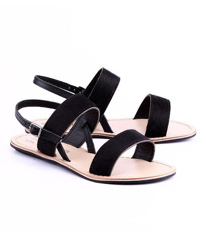 Black Color Genuine Leather Sole Sandals - NW-702-B