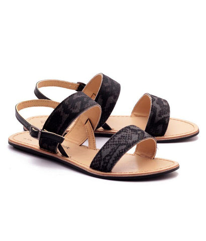 Grey and Black Color Genuine Leather Sole Sandals - NW-702-GB