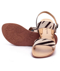 White and Black Color Genuine Leather Sole Sandals - NW-702-WB