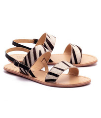 White and Black Color Genuine Leather Sole Sandals
