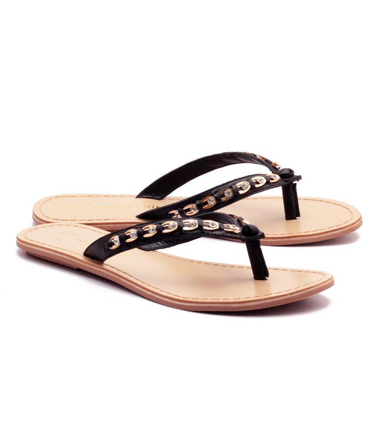 Black Color Genuine Leather Sole Sandals