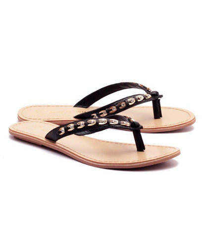 Black Color Genuine Leather Sole Sandals - NW-703-Bstud