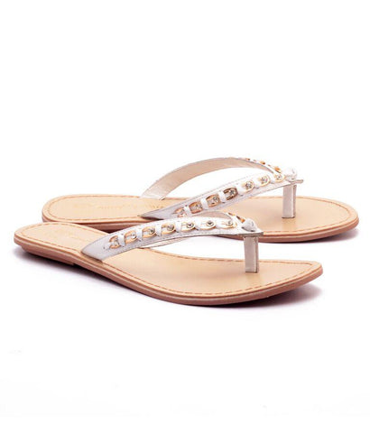 White Color Genuine Leather Sole Sandals - NW-703-Wstud