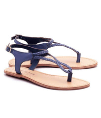 Blue Color Genuine Leather Sole Sandals