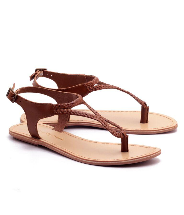Tan Color Genuine Leather Sole Sandals