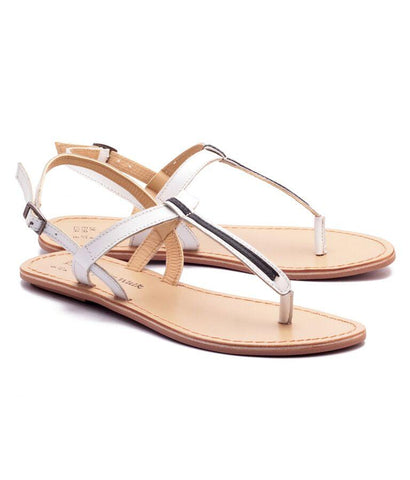 White and Black Color Genuine Leather Sole Sandals - NW-705-WB