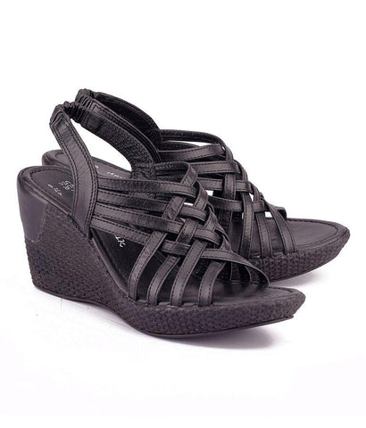 Black Color Genuine Leather Sole Sandals - NW-706-Black