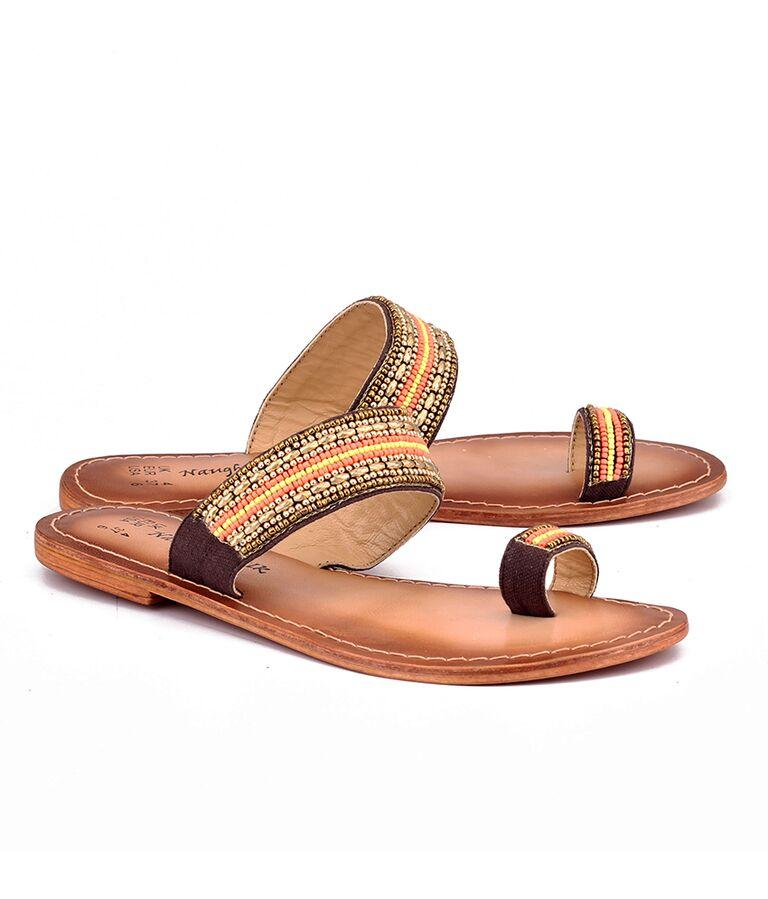 Brown Color Genuine Leather Sole Sandals