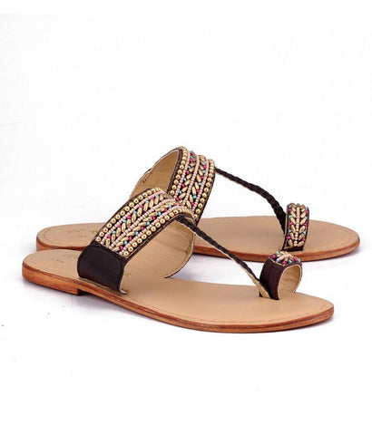 Brown Color Genuine Leather Sole Sandals - NW-710-MultiBrown