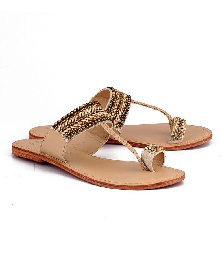 Natural Color Genuine Leather Sole Sandals