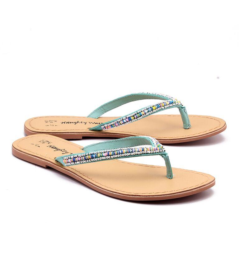 Turquise Color Genuine Leather Sole Sandals