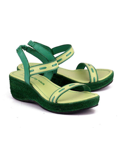 Lime Green Color Genuine Leather Sole Sandals - NW-712-LG