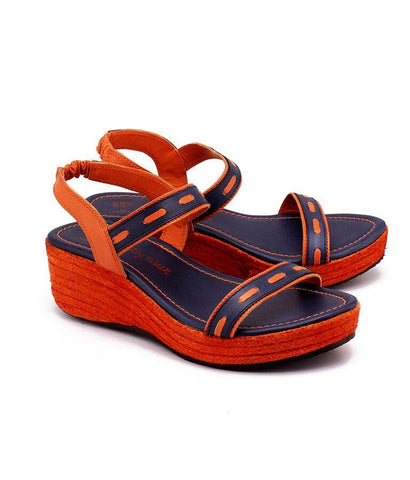 Orange and Blue Color Genuine Leather Sole Sandals - NW-712-OB