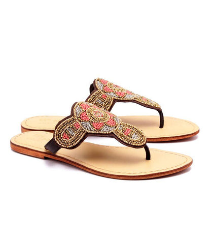Gold Color Genuine Leather Sole Sandals - NW-714-MultiGold