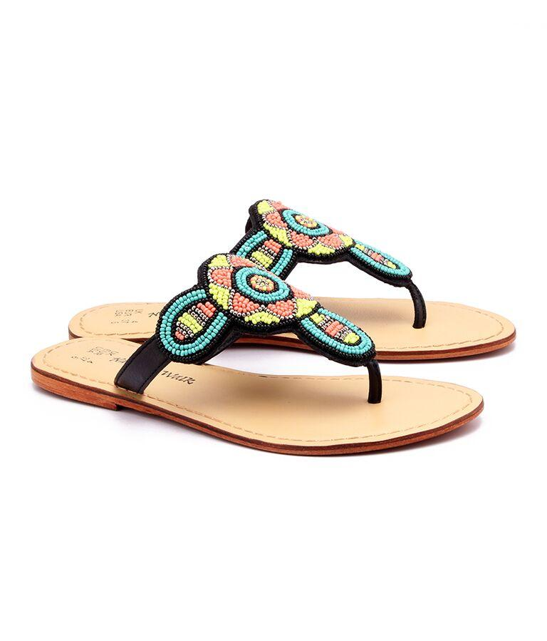 Green Color Genuine Leather Sole Sandals
