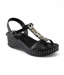 Black Color Genuine Leather Sole Sandals - NW-716-Black