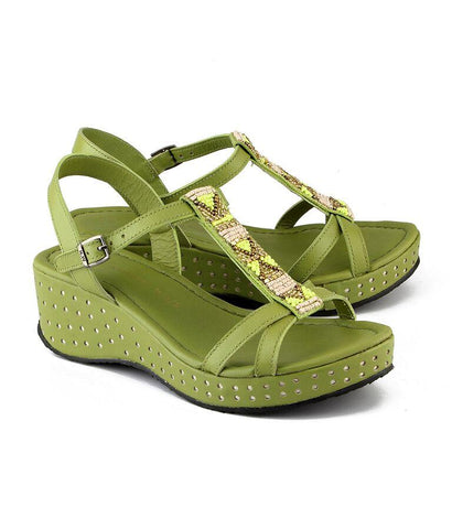 Green Color Genuine Leather Sole Sandals - NW-716-Green