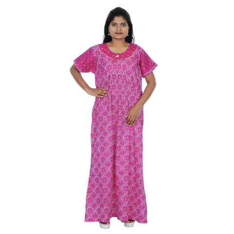 Pink And White Color  Cotton  Free Size  Nighty - NW0195_P