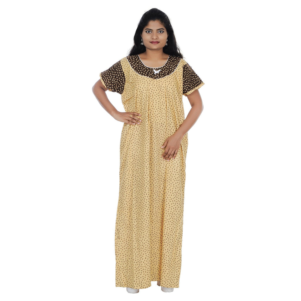 Buy Beige and Brown  Color Cotton Free Size Nighty