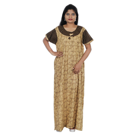 Beige and Brown  Color Cotton Free Size Nighty - NW0202-G