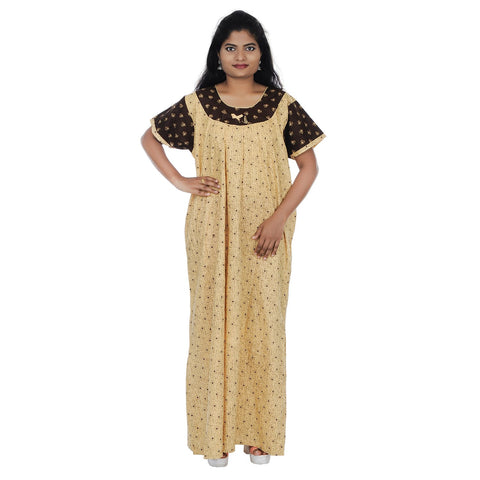 Beige and Brown  Color Cotton Free Size Nighty - NW0202-H