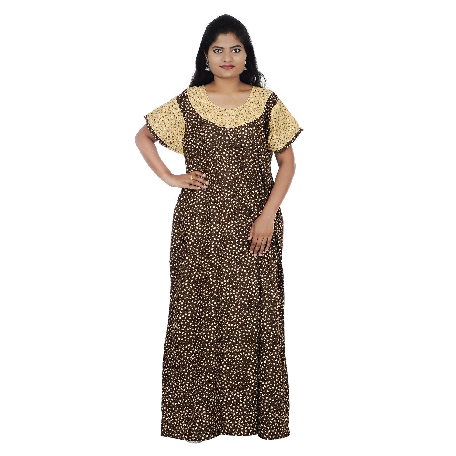 be1d3ad202 Buy Brown and Beige Color Cotton Free Size Nighty | Zinnga