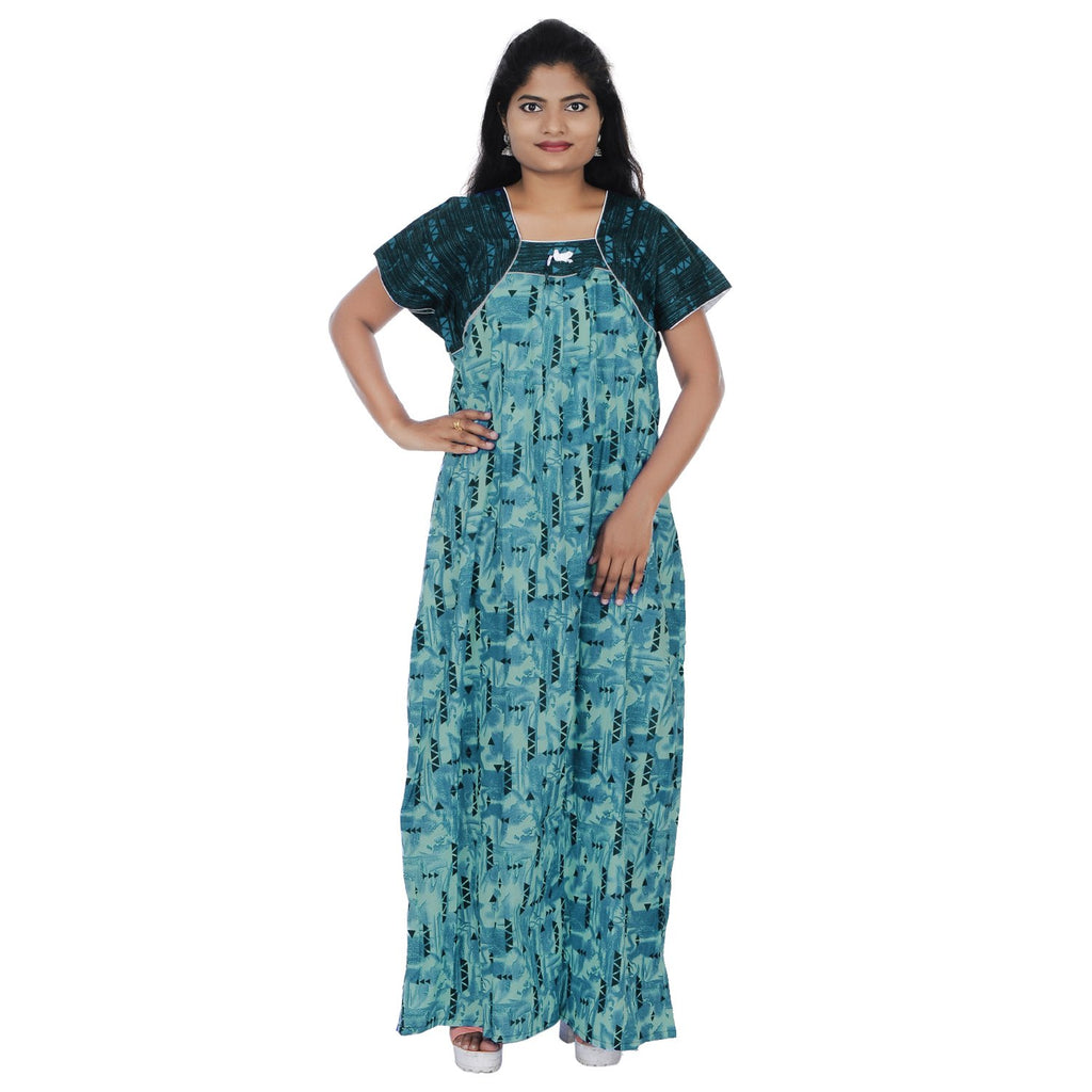 Buy Green Color  Cotton Free Size Nighty