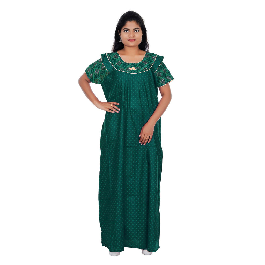 Buy Green And Grey Color  Cotton  Free Size  Nighty
