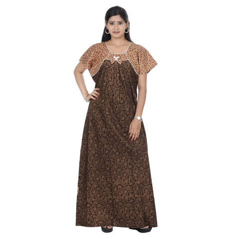 Brown Color Cotton Women's Printed Nighty - NW0222_BR
