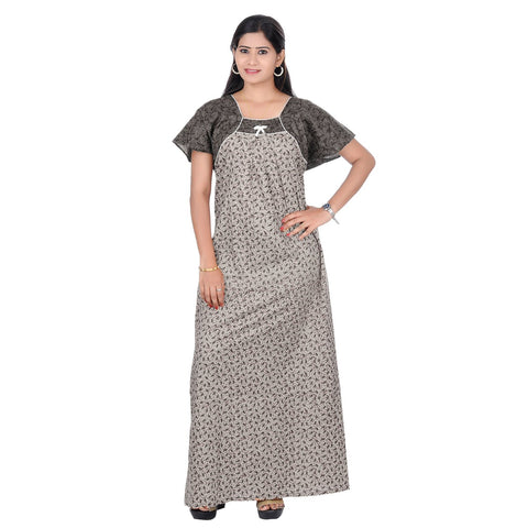 Grey Color Cotton Women's Printed Nighty - NW0223_GR