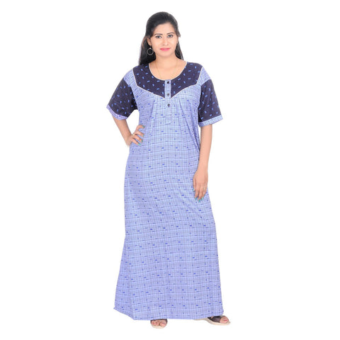 Blue Color Cotton Women's V Neck Nighty - NW0227_B