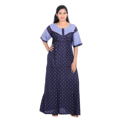 Blue Color Cotton Women's V Neck Nighty - NW0228_B