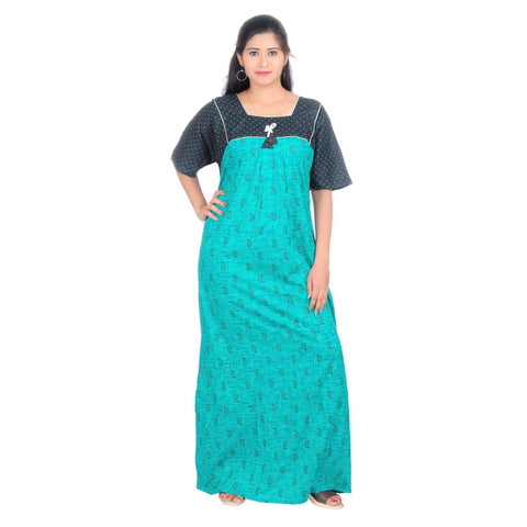 Green Color Cotton Women's Square Neck Nighty - NW0230_G