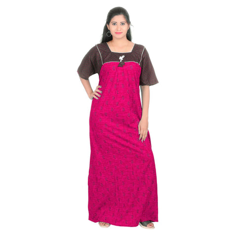 Pink Color Cotton Women's Square Neck Nighty - NW0230_P