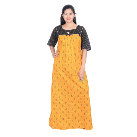 Yellow Color Cotton Women's Square Neck Nighty - NW0230_Y