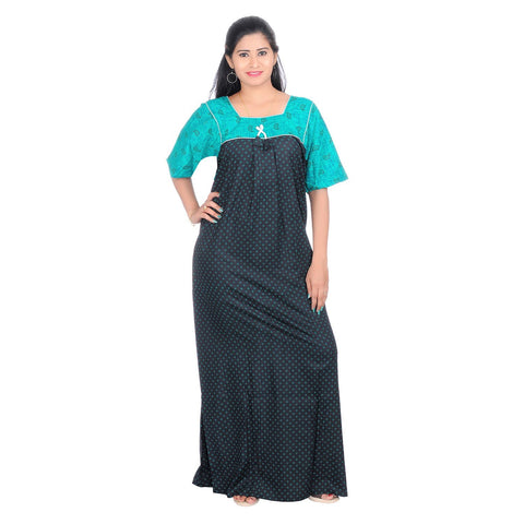 Green Color Cotton Women's Square Neck Nighty - NW0231_G
