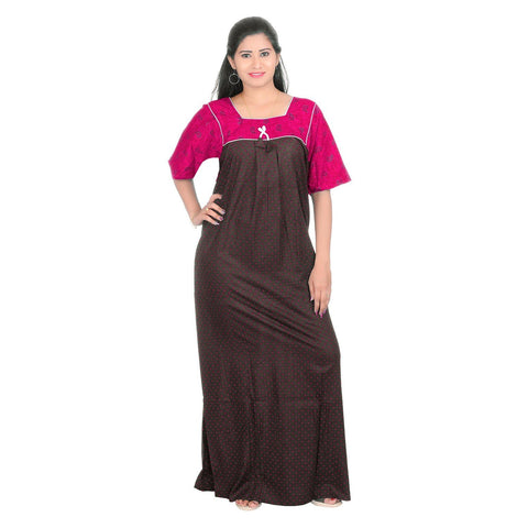 Pink Color Cotton Women's Square Neck Nighty - NW0231_P