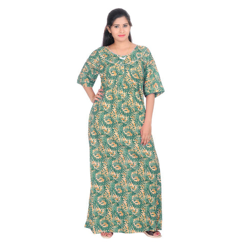 Green Color Cotton Women's Round Neck Nighty - NW0232_G
