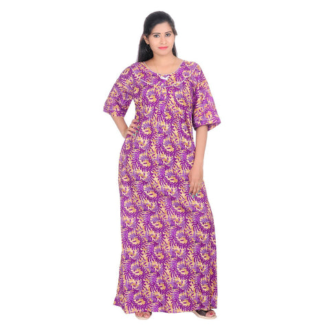 Purple Color Cotton Women's Round Neck Nighty - NW0232_PU