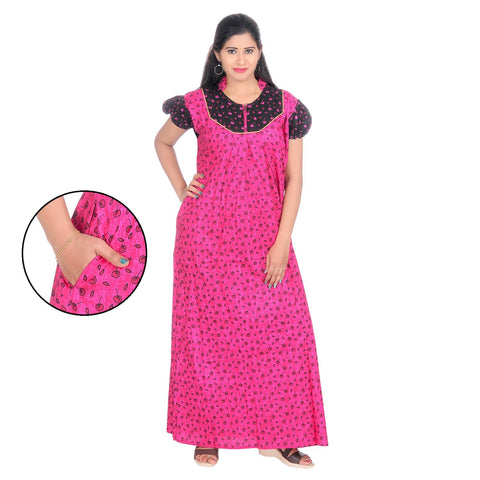 Pink Color Cotton Women's Collar Neck Nighty - NW0233_P