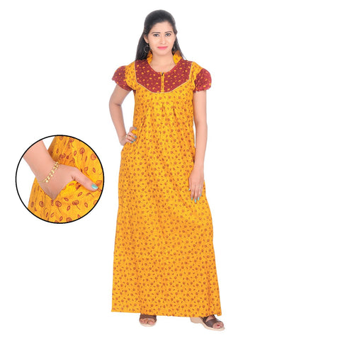 Yellow Color Cotton Women's Collar Neck Nighty - NW0233_Y