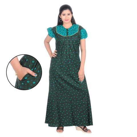 Green Color Cotton Women's Collar Neck Nighty - NW0234_G