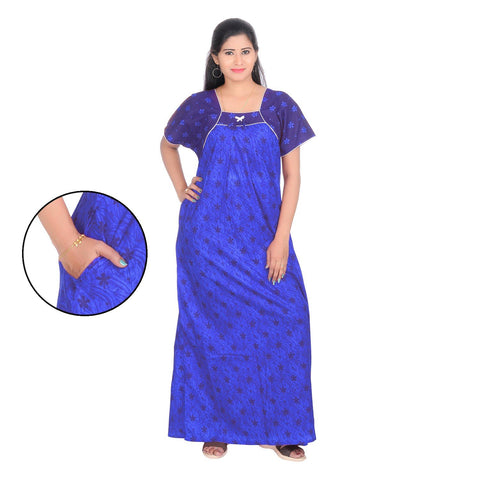 Blue Color Cotton Women's Square Neck Nighty - NW0235_B