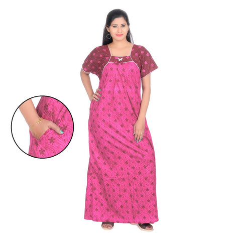 Pink Color Cotton Women's Square Neck Nighty - NW0235_P