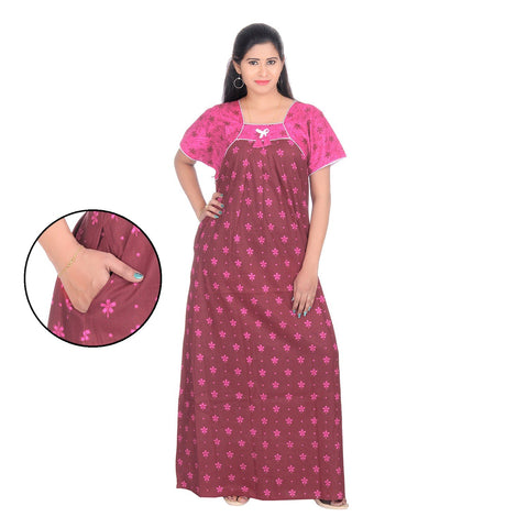 Pink Color Cotton Women's Square Neck Nighty - NW0236_P