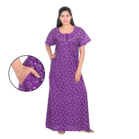 Purple Color Cotton Women's Square Neck Nighty - NW0237_PU