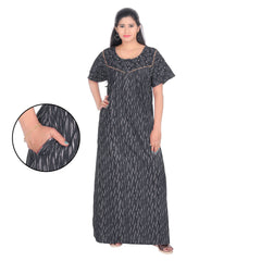 Buy Black Color Cotton Women's Square Neck Nighty
