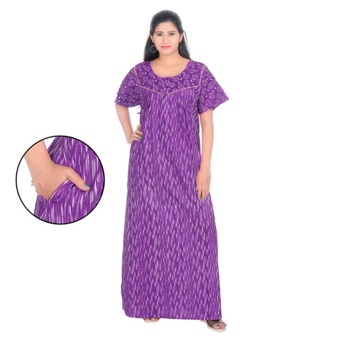 Purple Color Cotton Women's Square Neck Nighty - NW0238_PU