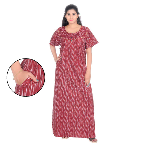 Red Color Cotton Women's Square Neck Nighty - NW0238_R